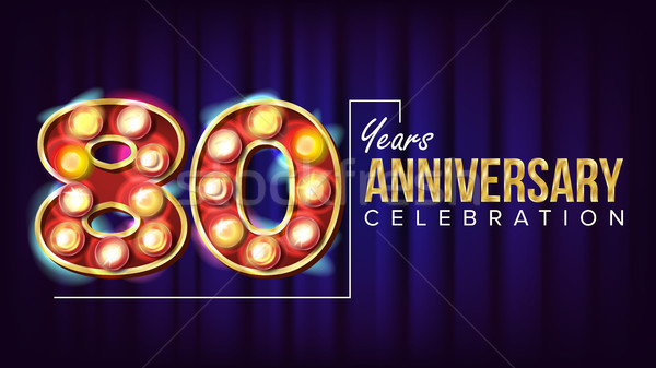 80 Years Anniversary Banner Vector. Eighty-eight, Eight Celebration. Lamp Background Digits. For Con Stock photo © pikepicture