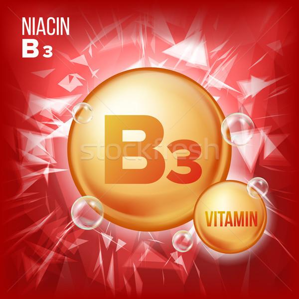 Vitamin B3 Niacin Vector. Vitamin Gold Oil Pill Icon. Organic Vitamin Gold Pill Icon. Medicine Capsu Stock photo © pikepicture