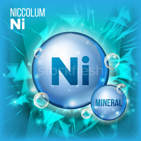 Ni Niccolum Vector. Mineral Blue Pill Icon. Vitamin Capsule Pill Icon. Substance For Beauty, Cosmeti Stock photo © pikepicture