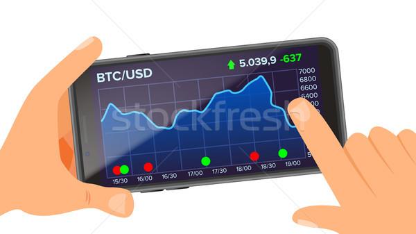 Bitcoin demande vecteur main smartphone Photo stock © pikepicture
