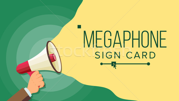 Megaphone In Human Hand Vector. Elections Symbol. Bullhorn. Banner For Business, Promotion. Flat Car Stock photo © pikepicture
