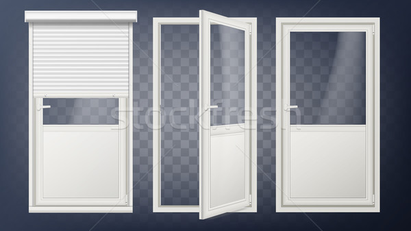 Plastic Glass Door Vector. White Roller Shutter. Opened And Closed. Roll Up Shutter. Isolated On Tra Stock photo © pikepicture