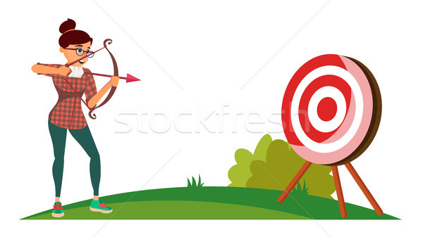 Attainment Winner Concept Vector. Business Woman Shooting From A Bow In A Target. Objective Attainme Stock photo © pikepicture