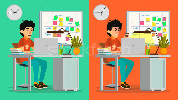 Stressed Out Man Vector. Young Coder Working At Office. Stressful Work, Job. Tired Junior Programmer Stock photo © pikepicture
