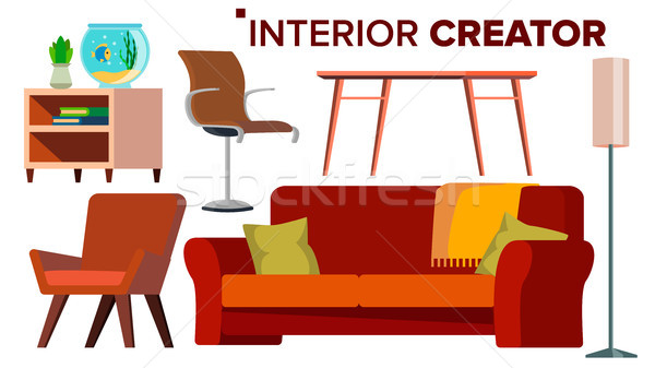 Furniture Creator Vector. Living Room. Modern Chair Objects. Sofa, Armchair, Lamp, Table, Bedside Ta Stock photo © pikepicture