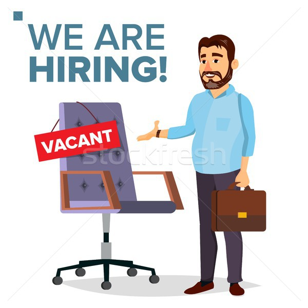 Recruitment Process Vector. Human Resources. Businessman Choice Of Employee. Office Chair. Vacancy S Stock photo © pikepicture