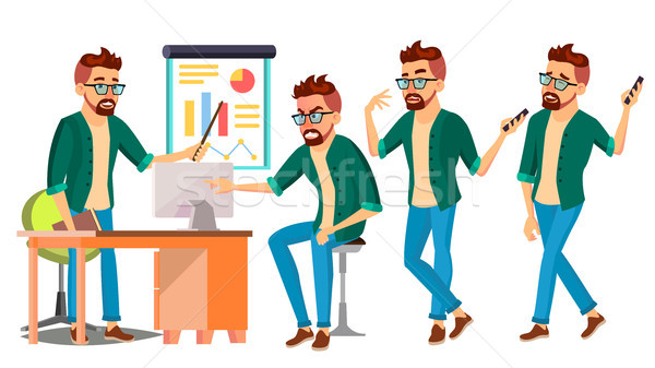 Business Man Character Vector. Hipster Working Male. Environment Process. Start Up. Casual Clothes.  Stock photo © pikepicture