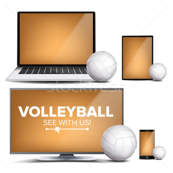 Volleyball Application Vector. Field, Volleyball Ball. Online Stream, Bookmaker, Sport Game App. Ban Stock photo © pikepicture