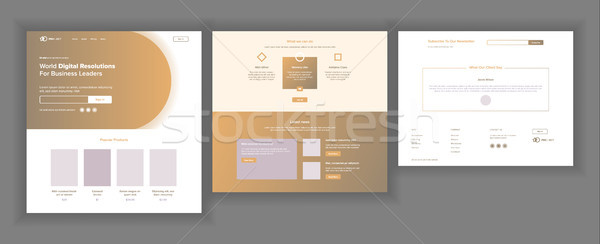 Website Design Template Vector. Business Interface. Landing Web Page. Professional Team. Monitoring  Stock photo © pikepicture