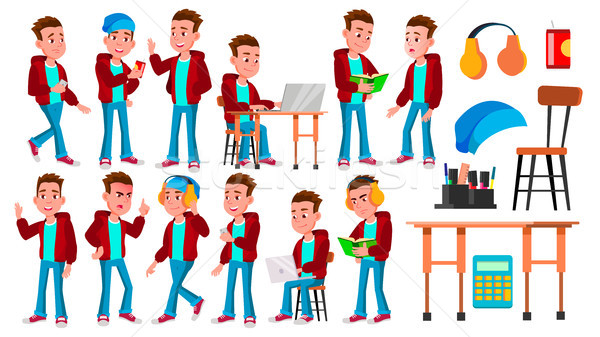 Boy Schoolboy Kid Poses Set Vector. High School Child. School Student. Graduation, Homework, Teacher Stock photo © pikepicture
