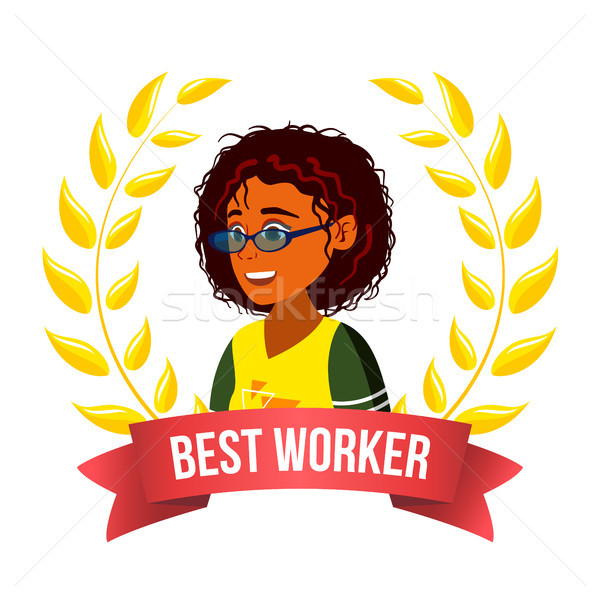Best Worker Employee Vector. Afro American Woman. Award Of The Month. Gold Wreath. Victory Business  Stock photo © pikepicture