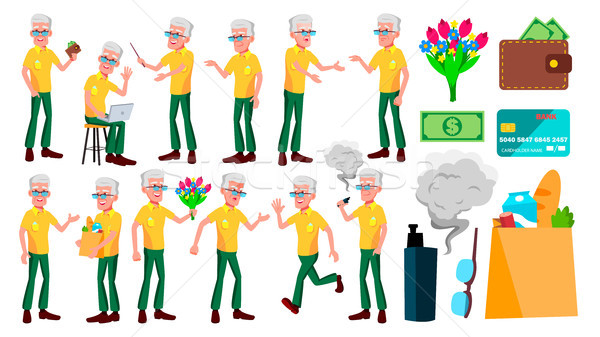 Old Man Poses Set Vector. Elderly People. Senior Person. Aged. Funny Pensioner. Leisure. Postcard, A Stock photo © pikepicture