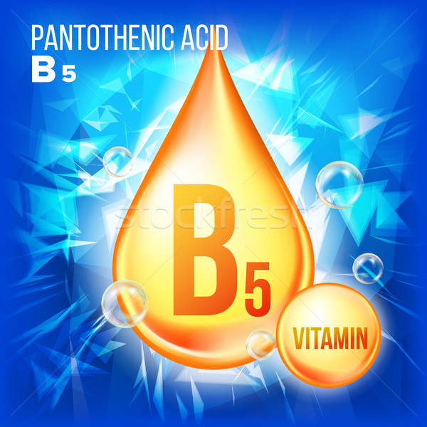 Vitamin B5 Pantothenic Acid Vector. Gold Oil Drop Icon. Organic Gold Droplet Icon. Liquid, Golden Su Stock photo © pikepicture