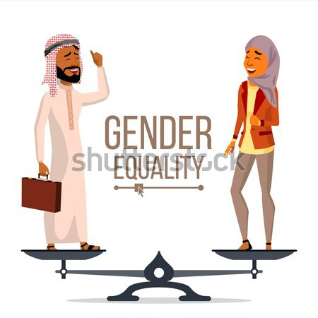 Gender Equality Vector. Man And Woman. Standing On Scales. Equal Rights. Isolated Flat Cartoon Illus Stock photo © pikepicture