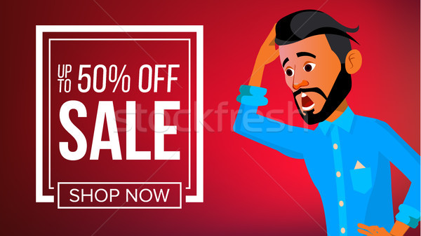 Arab Man Banner Vector. Middle Eastern Man. Young Saudi Arabic. For Banner, Flyer, Web Design. Illus Stock photo © pikepicture