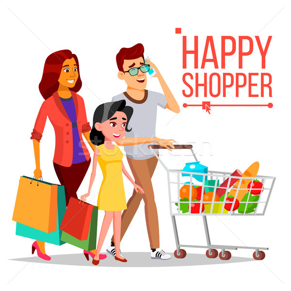 Shopping Woman Vector. Happy Family Couple. Grocery Cart. Joyful Female. Holding Paper Bags. Groceri Stock photo © pikepicture