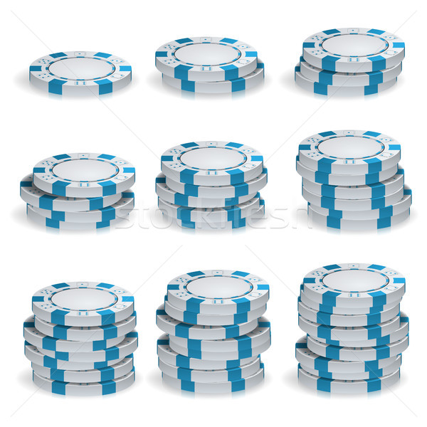 Bianco poker chips vettore 3D set plastica Foto d'archivio © pikepicture
