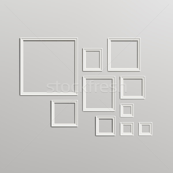 Blank Picture Frame Template Composition Set. Gallery Interior With Empty Wooden Frames Indoor Vecto Stock photo © pikepicture