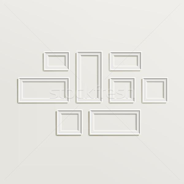 Cadre photo modèle vecteur blanche photo Photo stock © pikepicture