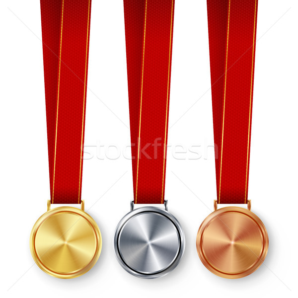 Champion Medals Blank Set Vector. Metal Realistic First, Second Third Placement Prize. Classic Empty Stock photo © pikepicture