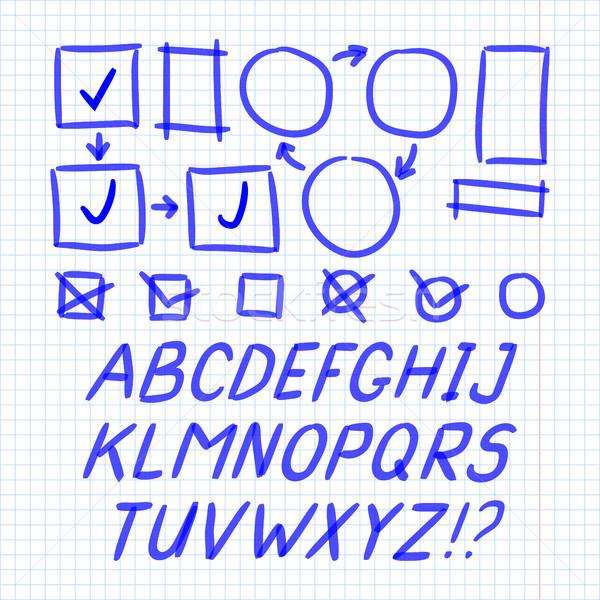Stockfoto: Fiche · hand · geschreven · doodle · brieven · symbolen