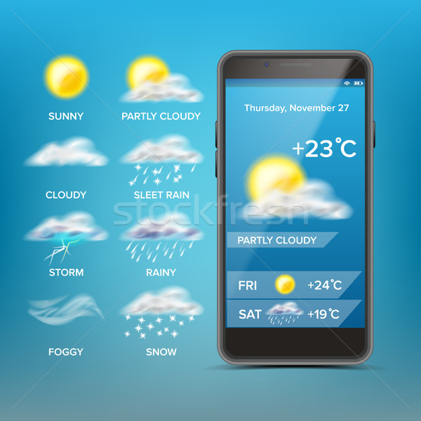 Weather Forecast App Vector. Good For Use In Mobile Phone App. Predict The State Of The Atmosphere F Stock photo © pikepicture