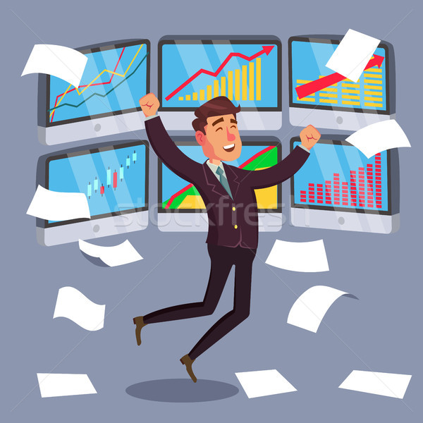 Stock photo: Successful Trader Vector. Stock Market Graph Diagram. Ascending Graphs. Data Analyses. Isolated On W