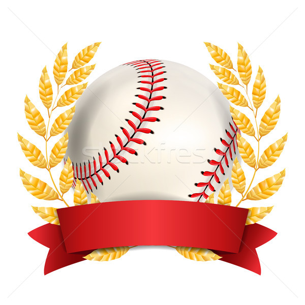 Baseball Award Vector. Sport Banner Background. White Ball, Red Stitches, Red Ribbon, Laurel Wreath. Stock photo © pikepicture