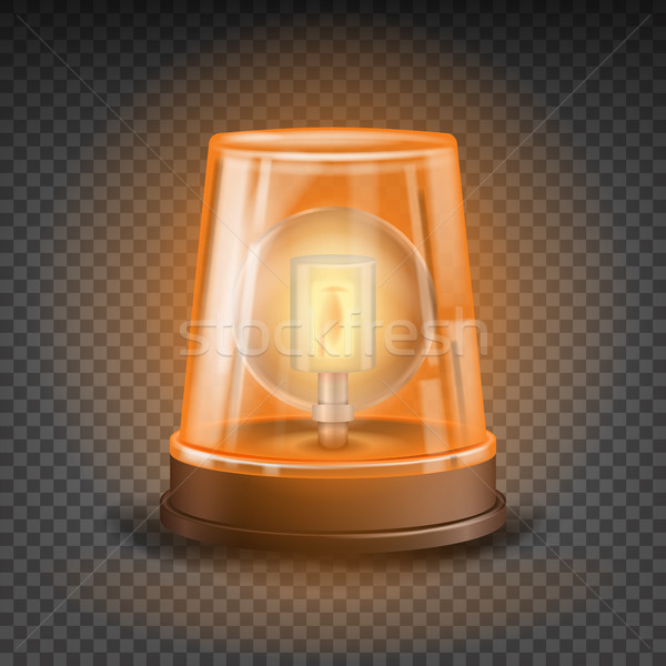 Orange Flasher Siren Vector. 3D Realistic Object. Light Effect. Rotation Beacon. Emergency Flashing  Stock photo © pikepicture
