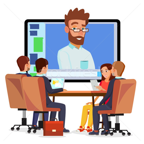 Online Video Conference Vector. Man And Chat. Director Communicates With Staff. Webinar. Business Me Stock photo © pikepicture