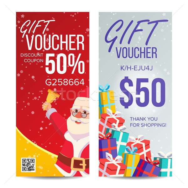 Gift Voucher Vector. Vertical Coupon. Merry Christmas. Happy New Year. Santa Claus And Gifts. Shoppi Stock photo © pikepicture