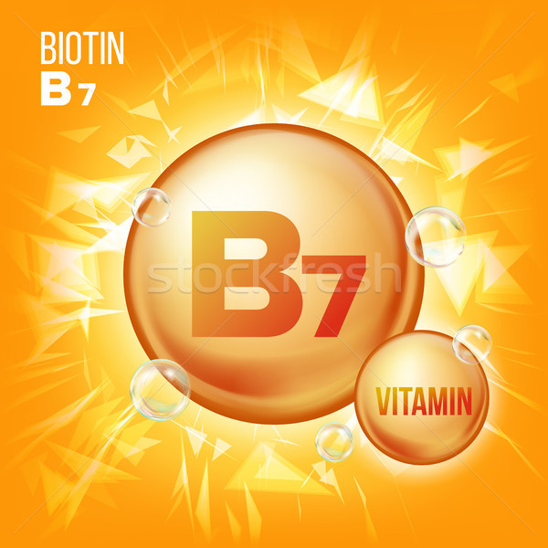 Vitamin B7 Biotin Vector. Vitamin Gold Oil Pill Icon. Organic Vitamin Gold Pill Icon. Medicine Capsu Stock photo © pikepicture