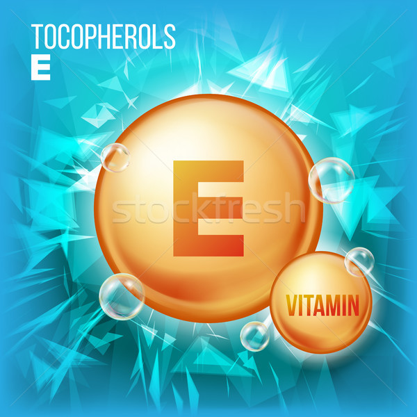 Stockfoto: Vitamine · vector · goud · olie · pil · icon