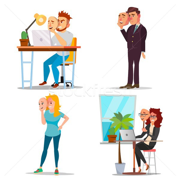 Fake Person Set Vector. Bad, Tired Man, Woman. Deceive Concept. Business People Wear Smile Mask. Iso Stock photo © pikepicture