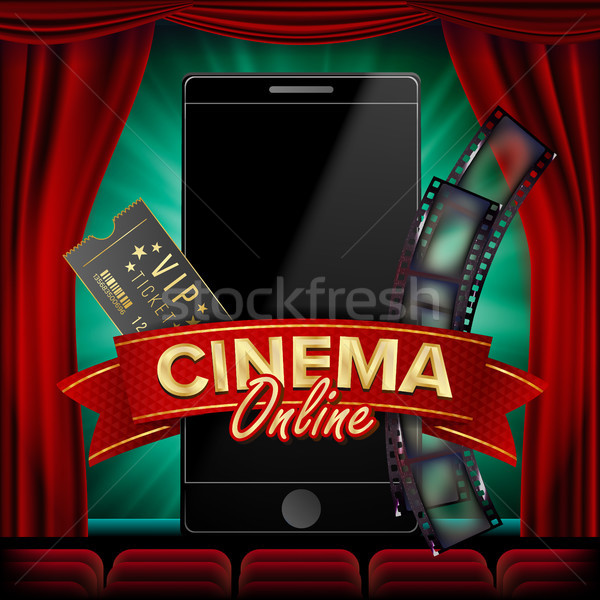 Online Cinema Poster Vector. Modern Mobile Smart Phone Concept. Good For Flyer, Banner, Marketing. M Stock photo © pikepicture