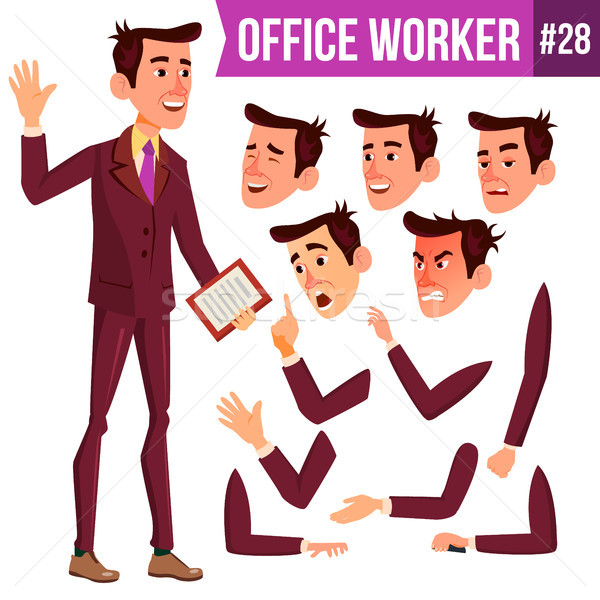 Office Worker Vector. Face Emotions, Various Gestures. Businessman Person. Smiling Executive, Servan Stock photo © pikepicture