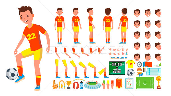 Soccer Player Male Vector. Animated Character Creation Set. Man Full Length, Front, Side, Back View, Stock photo © pikepicture