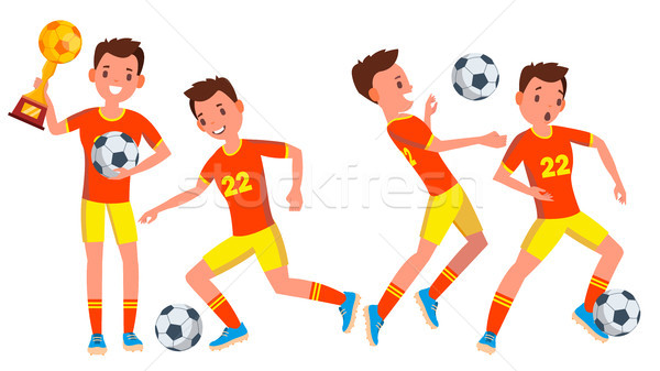 Soccer Male Player Vector. In Action. Modern Uniform. Ball. Boots. Cartoon Character Illustration Stock photo © pikepicture