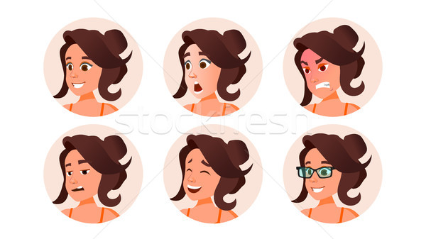 Mujer avatar personas vector fuerte pictograma Foto stock © pikepicture