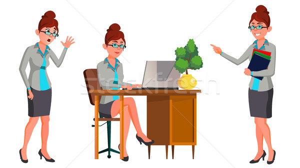 Office Worker Vector. Woman. Secretary, Accountant. Happy Clerk, Servant, Employee. Office Generator Stock photo © pikepicture