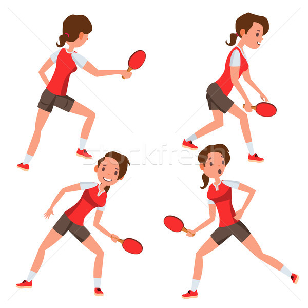 Table Tennis Female Player Vector. Game Match. Silhouettes. Playing In Different Poses. Woman. Athle Stock photo © pikepicture
