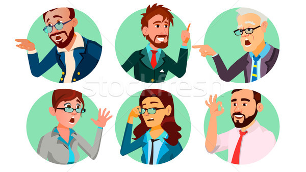 Business People In A Hole Vector. Society Behavior Concept. Isolated Flat Cartoon illustration Stock photo © pikepicture