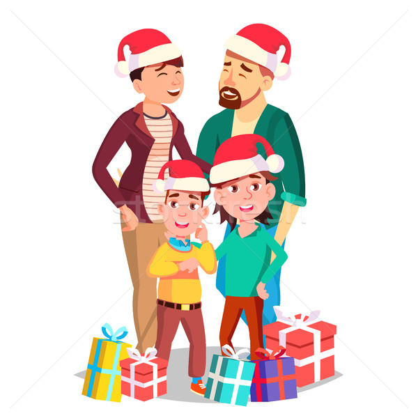 Christmas Family Portrait Vector. Dad, Mother, Kids. In Santa Hats. Winter Holidays. Cheerful. Greet Stock photo © pikepicture