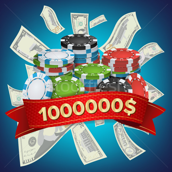 Casino Winner Background Vector. Poker Chips. Cash Winning Prize Money Concept Illustration Stock photo © pikepicture