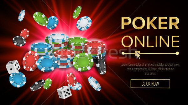 Online Poker Vector. Gambling Casino Banner Sign. Explosion Chips, Playing Dice. Jackpot Casino Bill Stock photo © pikepicture