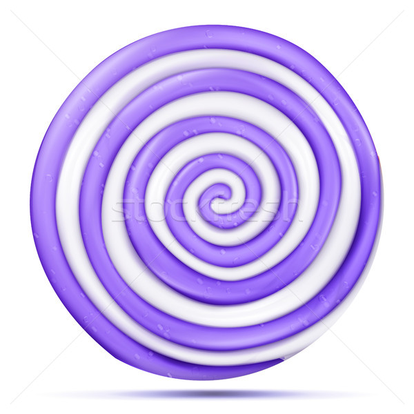 Lollipop Isolated Vector. Realistic Candy Round Purple Spiral Illustration. Classic Sugar Caramel Stock photo © pikepicture