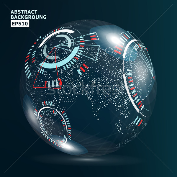 Futuristic Globalization Interface. Earth Science Technology Abstract Background. Vector Illustratio Stock photo © pikepicture