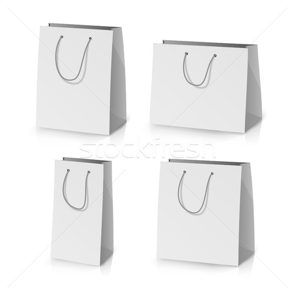 Blank Paper Bag Template Vector. Realistic Gift Bag Illustration Stock photo © pikepicture
