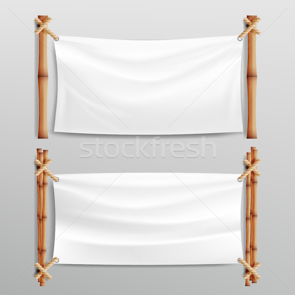 Bamboo Frame With Realistic Paper Background. For Your Message. Empty Canvas For Text. Realistic Ill Stock photo © pikepicture