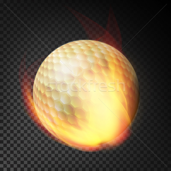 Flaming Realistic Golf Ball On Fire Flying Through The Air. Burning Ball On Transparent Background Stock photo © pikepicture
